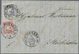 Bayern - Marken Und Briefe: 1870, DESTINATION STOCKHOLM, 7 Kr. Ultramarin Zus. Mit 3 Kr. Karmin, Beide Werte Farbfrisch, - Bavaria