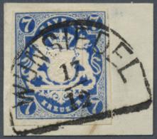 Bayern - Marken Und Briefe: 1868, 7 Kr. Preußischblau, Farbtiefes, Allseits Voll- Bis Breitrandiges Exemplar Auf B - Bavaria