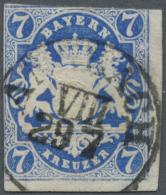 Bayern - Marken Und Briefe: 1868, 7 Kr. In Seltener Farbe PREUSSISCHBLAU, Rechts Und Unten Breitrandig, Sonst Berüh - Bavaria