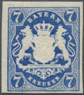 Bayern - Marken Und Briefe: 1868, Wappenausgabe Ungezähnt, 7 Kreuzer PREUßISCHBLAU Besonders Tiefe Und Frisch - Bavaria