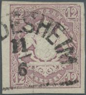 Bayern - Marken Und Briefe: 1867, 12 Kr. Hellbraunviolett Mit Seltenem Plattenfehler: Rechte Obere Ecke Abgeschrägt - Bavaria