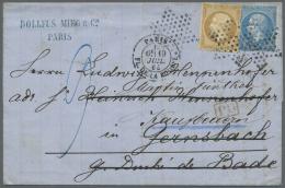 """Bayern - Marken Und Briefe: 1865, Incoming Mail Frankreich-Bayern Mit Blauer Taxe """"9"""" (Kreuzer) Als Nachporto Auf Faltbf - Bavaria"""