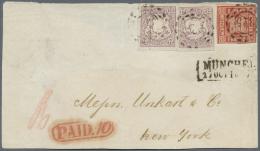Bayern - Marken Und Briefe: 1862, 18 Kr. Zinnoberrot, Unten Angeschnitten, Sonst Voll- Bis Breitrandig Und Zwei Voll- Bi - Bavaria