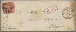 """Bayern - Marken Und Briefe: 1862, 18 Kr. Lebhaftrot Allseits Voll/breitrandig Mit OMR """"598"""" Einzelfrankatur Auf Kleinem - Bavaria"""
