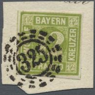 """Bayern - Marken Und Briefe: 1862, Freimarke 12 Kreuzer Gelbgrün Mit PLATTENFEHLER """"´E´ Und &acute - Bavaria"""