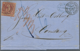 Bayern - Marken Und Briefe: 1862, Vollständiger Faltbrief Mit 3 Kr. Karminrosa, Marke FREMDENTWERTET  Mit Dem SCHWE - Bavaria