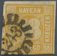 """Bayern - Marken Und Briefe: 1854, 18 Kreuzer Gelb Mit GMR """"243"""" Mit Befund Sem BPP. Rechts Unten Winzig Berührt. - Bavaria"""