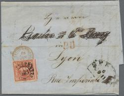 Bayern - Marken Und Briefe: 1861, 12 Kr Rot, Voll- Bis Breitrandig Als EF Auf Faltbrief Von SPEYER, 9 11, Nach Lyon In F - Bavaria