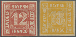 Bayern - Marken Und Briefe: 1850, Quadratausgaben 12 Kr. Rot Und 18 Kr. Orangegelb, Beides Sehr Farbfrische Und Voll- Bi - Bavaria