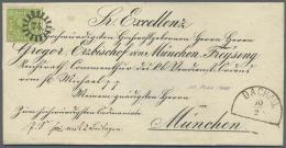 """Bayern - Marken Und Briefe: 1850,  9 Kr. Gelbgrün Mit Klarem MR """"75"""" Auf Bischofsbriefhülle Mit Vorgedruckter - Bavaria"""