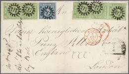 """Bayern - Marken Und Briefe: 1853, """"DER PRINZ ALBERT BRIEF"""", 9 Kreuzer Lebhaftgrün, Waagrechter Dreierstreifen Sowie - Bavaria"""