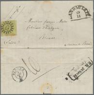 """Bayern - Marken Und Briefe: 1851, TEILFRANKO-BRIEF Aus Der Pfalz: 9 Kr Grün Mit Mühlradstempel """"173"""", Daneben - Bavaria"""