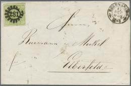 """Bayern - Marken Und Briefe: 1852: Brief Mit 9 Kreuzer Grün Ab """"281"""" REGENSBURG Nach Elberfeld. Rückseitig Wird - Bavaria"""