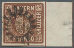 Bayern - Marken Und Briefe: 1850, 6 Kr. Braun, Platte II Mit 13 ½ Mm Breitem Zwischensteg-Ansatz Rechts, Entwerte - Bavaria