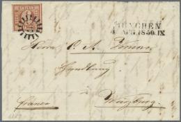 """Bayern - Marken Und Briefe: 1849, 6 Kr. Braun Auf Weiß In Type """"I"""" Geschnitten Auf Vollständigem Faltbrief Na - Bavaria"""