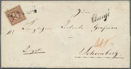 Bayern - Marken Und Briefe: 1849, 6 Kreuzer Braunorange Entwertet Mit Federstrich Und L2 Sowie Beigesetzt Schreibschrift - Bavaria
