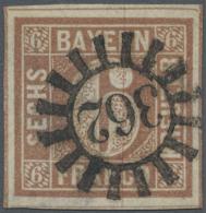 Bayern - Marken Und Briefe: 1849, 6 Kr. Braun, Platte 1, Farbfrisch, Sehr Breitrandig Mit Allen Schnittlinien Und Teils - Bavaria