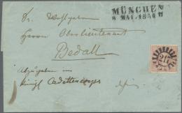 """Bayern - Marken Und Briefe: 1850, 1 Kr Hellilarot Entwertet Mit Klarem, Zentrisch Aufgesetztem """"217"""" (17 Schaufeln) Und - Bavaria"""