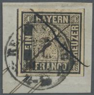 Bayern - Marken Und Briefe: 1849, 1 Kr. Tiefschwarz, Platte 1, Farbtiefes Exemplar In Sehr Breitrandigem Schnitt, Links - Bavaria