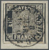 Bayern - Marken Und Briefe: 1849, 1 Kr. Tiefschwarz, Platte 1, Oben Berührt, Meist Jedoch Breitrandig Geschnitten M - Bavaria