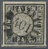 """Bayern - Marken Und Briefe: 1849, Bayern 1 Kr. Schwarz, Platte 1 """"SCHWARZER EINSER"""" Mit Ideal Zentrischem GMR """"401"""" Von - Bavaria"""