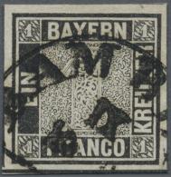 Bayern - Marken Und Briefe: 1849, 1 Kr. Schwarz, Platte 1, Farbfrisch Und Allseits Breitrandig Im Schnitt Mit Fast Volle - Bavaria