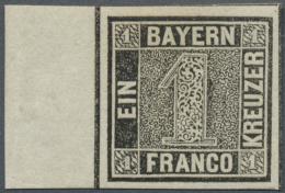 """Bayern - Marken Und Briefe: 1849, 1 Kreuzer Schwarz """"Schwarzer Einser"""" In Type I Mit Links 11 Mm Seitenrand, Ungebraucht - Bavaria"""