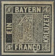 Bayern - Marken Und Briefe: 1849, Schwarzer Einser, Ungebrauchtes Exemplar Mit Teilen Der Originalen Gummierung Und Gute - Bavaria