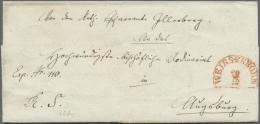 Bayern - Marken Und Briefe: 1845/1869, 3 Rote Und 1 Schwarzer Halbkreisstempel Auf 4 Faltbriefen Aus Brückenau Und - Bavaria