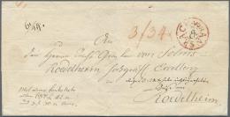 """Bayern - Vorphilatelie: 1800 (ca.), Roter Fahrpost-K2 """"ANSBACH"""" Als Seltener, Dekorativer Aufgabestpl. Auf Gesiegelter P - Germany"""