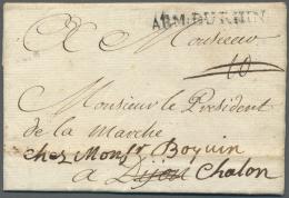 """Bayern - Vorphilatelie: 1743: Feldpostbrief Mit """"ARM. DU RHIN"""" Von """"Au Camp Laidau"""" Nach Dijon. - Germany"""