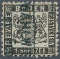 """Baden - Bahnpost: """"WAHLWIES 11 Feb.."""" Ra2 In Blau, Sehr Seltener Billetstempel Auf 1 Kr. Schwarz, Leichter Eckbug, Sonst - Baden"""