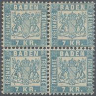 """Baden - Marken Und Briefe: 1868, 7 Kr. Hellblau Im Postfrischen 4-er Block Mit Altattest Bühler """"in Jeder Beziehung - Baden"""