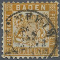 """Baden - Marken Und Briefe: 1862, 30 Kr. Lebhaftgelborange Mit K2 """"MANNHEIM 26 JAN"""", Drei Kurze Zähne Und Rücks - Baden"""