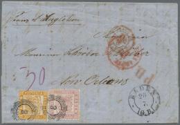 Baden - Marken Und Briefe: 1862, 30 Kr. Gelborange Zusammen Mit 3 Kr. Rosa Auf Faltumschlag (rs. Klappen Beschnitten) Je - Baden