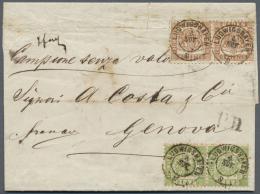 Baden - Marken Und Briefe: 1862/68, 9 Kr. Rötlichbraun Im Paar Und 1868, 1 Kr. Hellgrün Ebenfalls Im Paar, Bei - Baden