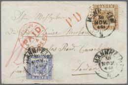 Baden - Marken Und Briefe: 1862, Wappen Mit Weissem Hintergrund 9 Kr. Hellbraun Und 6 Kr. Ultramarin (½ Zahn) Zus - Baden