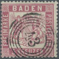 """Baden - Marken Und Briefe: 1862, 3 Kreuzer Mittelrosarot Tadellos Gestempelt """"43"""". Michel 380,- € - Baden"""