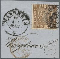 Baden - Marken Und Briefe: 1862, 9 Kr.  Wappenausgabe Lebhaftbraun Mit Farbigem Hintergrund, Kleines Briefstück, Ge - Baden