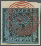 """Baden - Marken Und Briefe: 1858, 3 Kreuzer Schwarz/ultramarin Entwertet Mit Bildschönem """"115"""" Von Rastatt Auf Wei&s - Baden"""
