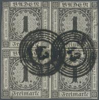Baden - Marken Und Briefe: 1853, 1 Kr. Schw./weiß Im Sehr Seltenen Viererblock Mit 2 Glasklaren NS 43 Freiburg Im - Baden