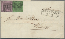 Baden - Marken Und Briefe: 1854/1857, Trio Mit Frankierten Faltbriefen Aus Einer Korrespondenz Von Mannheim Nach Venedig - Baden