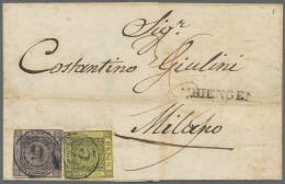 Baden - Marken Und Briefe: 1851-1852, Freimarke 3 Kreuzer Schwarz Auf Gelb Und 9 Kreuzer Schwarz Auf Lilarosa, Entwertet - Baden