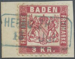 """Baden - Ortsstempel: """"HERBOLZHEIM 13 Jul"""" Blauer Bahnpost-Ra2 Klar Auf Kleinem Luxus-Briefstück Mit 3 Kr. Rot, Eine - Baden"""