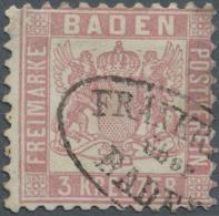 """Baden - Ortsstempel: """"FRANKREICH über BADEN"""" Ovaler K1 Als Alleinige Entwertung Auf 1862, 3 Kreuzer Rosa, Weit Gez& - Baden"""