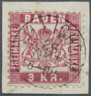 """Baden - Ortsstempel: """"BILLIGHEIM 25 Okt."""" Sehr Seltener K1 Glasklar Und Ideal Auf Kleinem Luxus-Briefstück 3 Kr. Ro - Baden"""