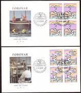 FAROE 1986 «Europa CEPT» Mi# 134-35 FDC Complete Set Blocks Of Four - Perfect Condition