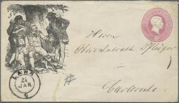 """Baden - Ganzsachen: 1868, """"LAHRER HINKENTER BOTE"""" Zudruck Auf 3 Kreuzer Ganzsachenumschlag Nach Carlsruhe, Als Motiv Die - Baden"""