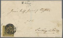 """Baden - Nummernstempel: """"22"""" Und Neben-L2 """"BURG 31. Feb (1851)"""" Etwas Verkleckst Auf Faltbrief Mit Breitrandiger 3 Kr. A - Baden"""