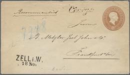 """Baden - Ganzsachen: 1866/67, 9 Kr GSU Aus """"ZELL I.W. / 18.Nov."""", Seltene Verwendung Als Einschreiben, Schreibschrift """"Ch - Baden"""